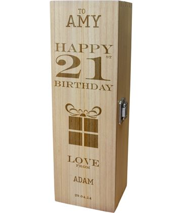 "Personalised Wooden Wine Box - Happy 21st Present Design 35cm (13.75"")"