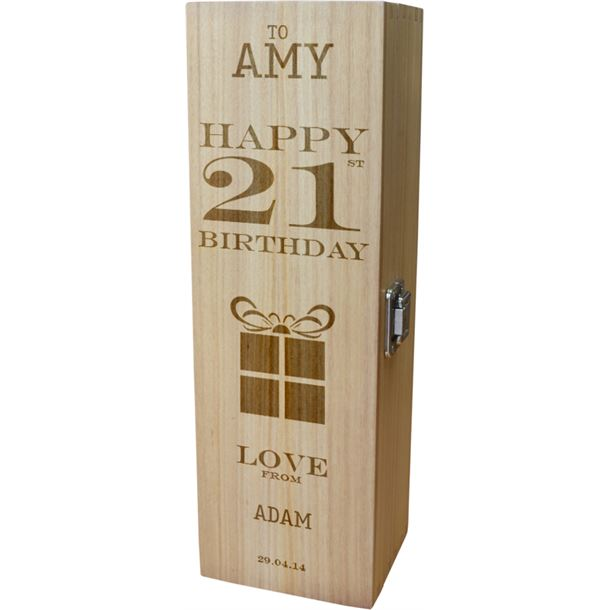 "Personalised Wooden Wine Box - Happy 21st Present Design 35cm (13.75"")"