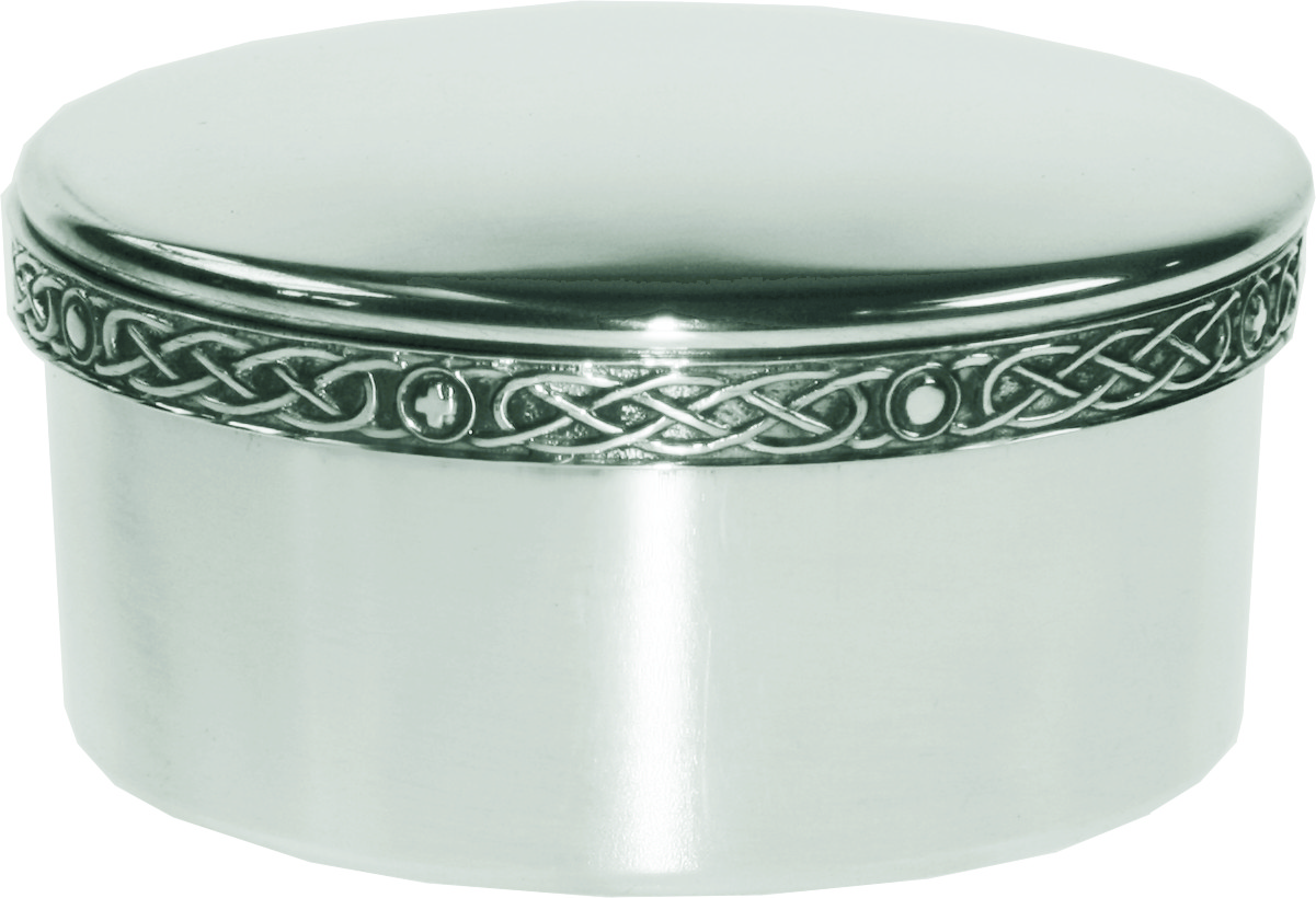 "Round Pewter Trinket Box with Celtic Band 6.5cm (2.5"")"