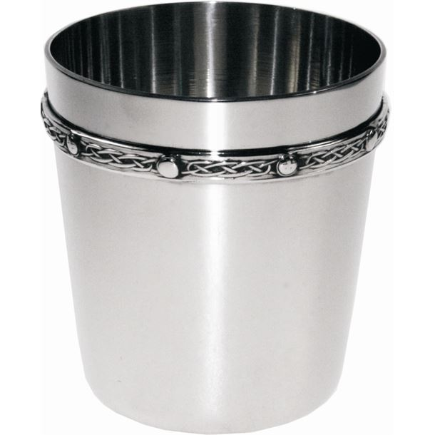 "Spun Pewter Tumbler with Celtic Band Detail 8.5cm (3.25"")"