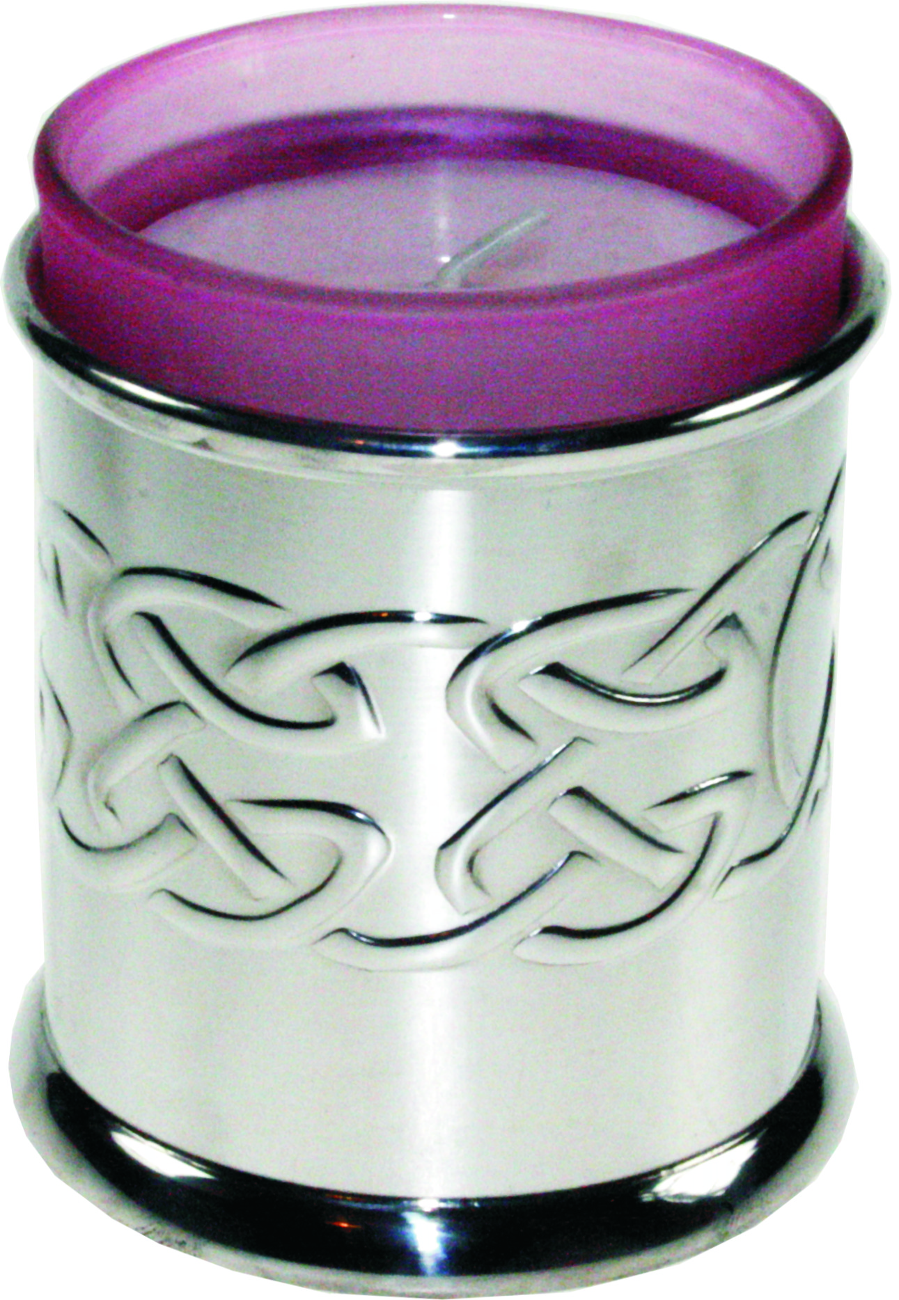 "Pewter Celtic Band Candle Votive and Candle 9cm (3.5"")"