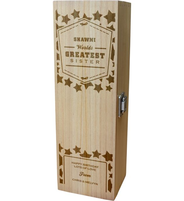 "Personalised Wooden Wine Box - World's Greatest Sister 35cm (13.75"")"