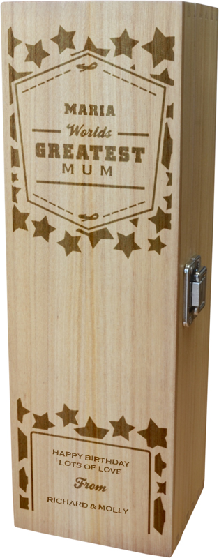 "Personalised Wooden Wine Box - World's Greatest Mum 35cm (13.75"")"