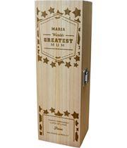 "Personalised Wooden Wine Box - World's Greatest Mum 35cm (13.75"")"