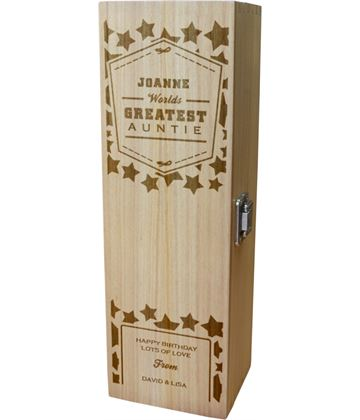 "Personalised Wooden Wine Box - World's Greatest Auntie 35cm (13.75"")"