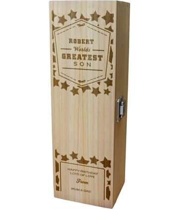 "Personalised Wooden Wine Box - World's Greatest Son 35cm (13.75"")"
