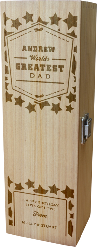 "Personalised Wooden Wine Box - World's Greatest Dad 35cm (13.75"")"