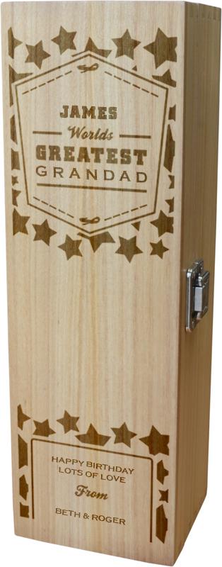 "Personalised Wooden Wine Box - World's Greatest Grandad 35cm (13.75"")"