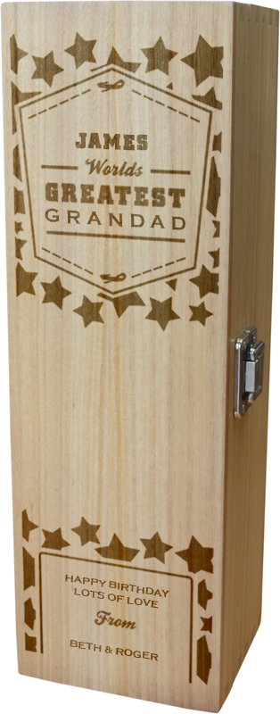 "Personalised Wooden Wine Box - World's Greatest Grandad 35cm (13.75"")"