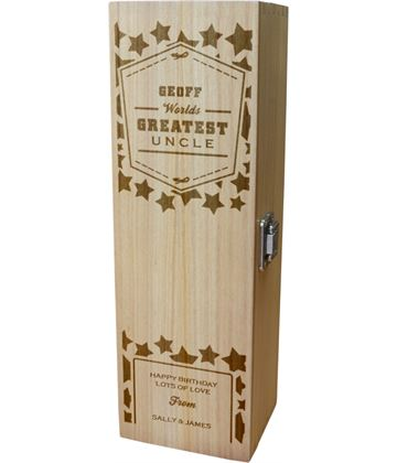"Personalised Wooden Wine Box - World's Greatest Uncle 35cm (13.75"")"