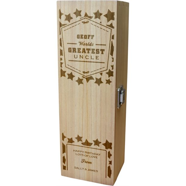 """Personalised Wooden Wine Box - World's Greatest Uncle 35cm (13.75"""")"""