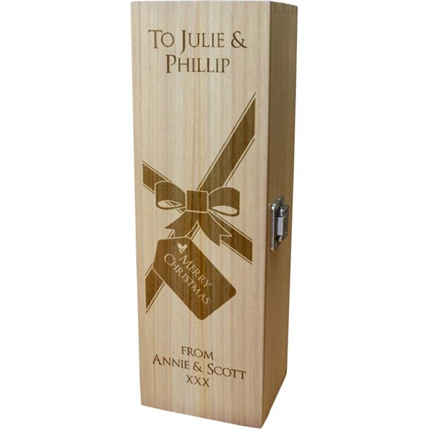 """Personalised Wooden Wine Box with Hinged Lid - Merry Christmas Present 35cm (13.75"""")"""