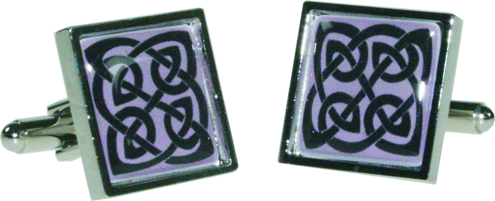 "Square Celtic Pink Nickel Plated Cuff links in Snap Hinged Box 2.5cm dia (1"")"