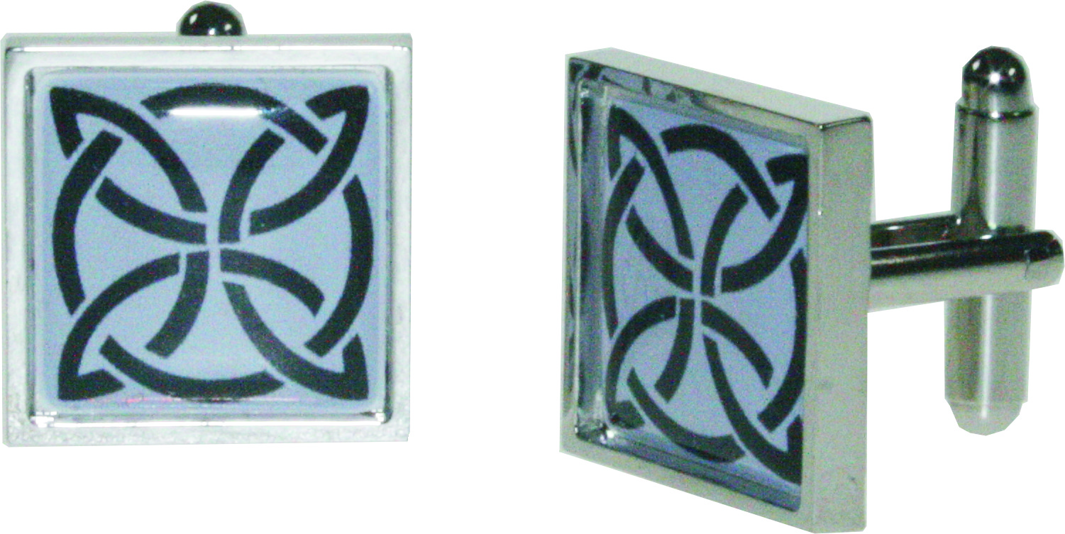 "Square Celtic Purple Nickel Plated Cuff links in Snap Hinged Box 2.5cm dia (1"")"