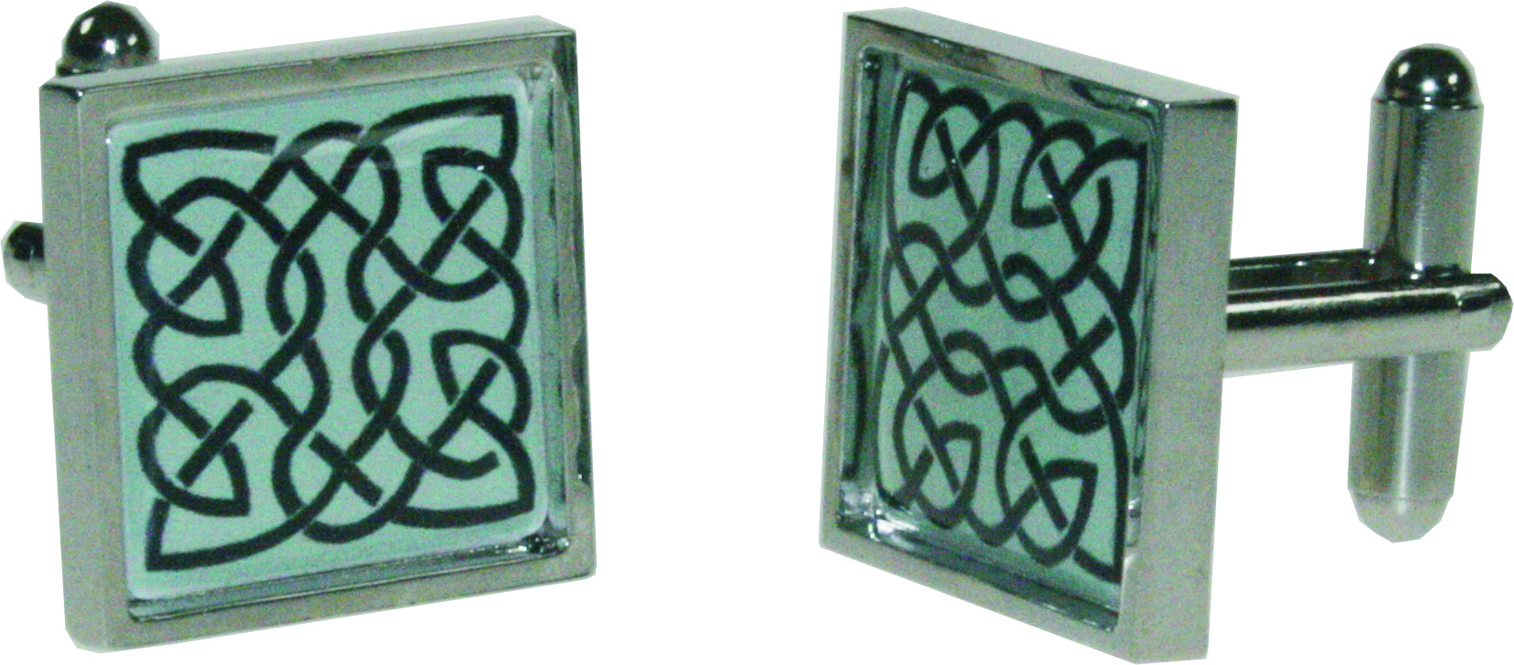 "Square Celtic Green Nickel Plated Cuff links in Snap Hinged Box 2.5cm dia (1"")"
