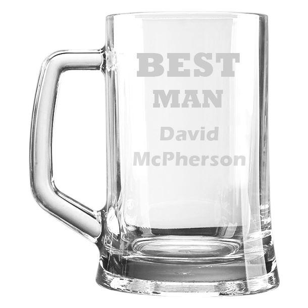 "Best Man Personalised 1pt Plain Glass Tankard 15cm (6"")"