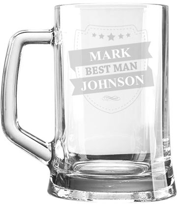 "Best Man Personalised 1pt Plain Glass Tankard Shield Design 15cm (6"")"