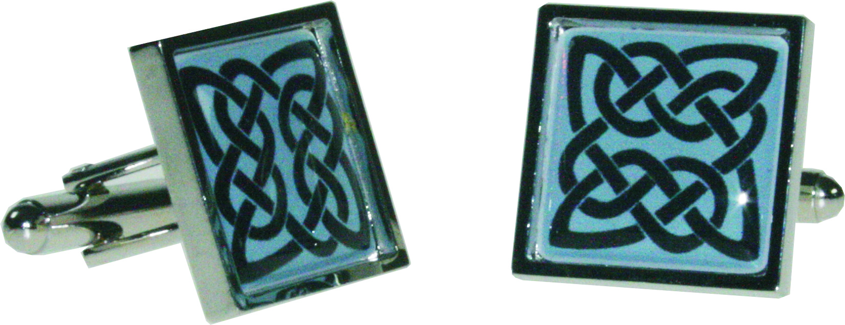 "Square Celtic Blue Nickel Plated Cuff links in Snap Hinged Box 2.5cm dia (1"")"