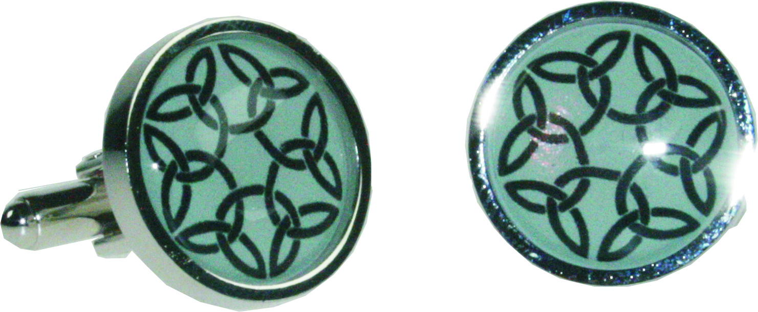 "Round Celtic Green Nickel Plated Cuff Links in Snap Hinged Box 2.5cm dia (1"")"