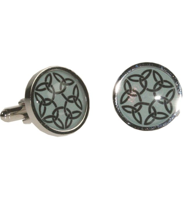 """Round Celtic Green Nickel Plated Cuff Links in Snap Hinged Box 2.5cm dia (1"""")"""