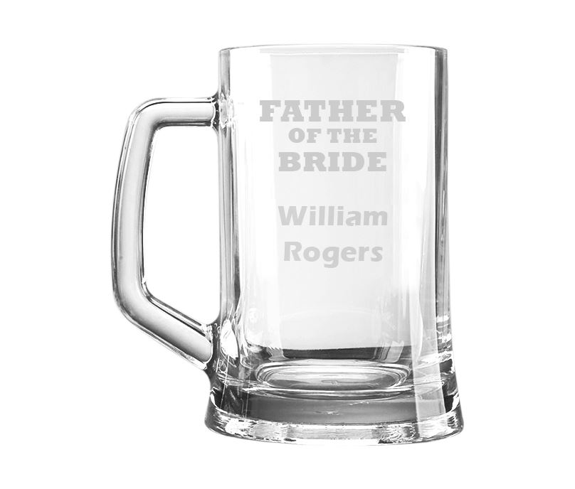 "Father of the Bride Personalised 1pt Plain Glass Tankard 15cm (6"")"