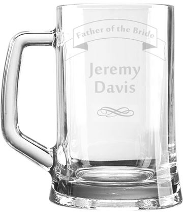 "Father of the Bride Personalised 1pt Plain Glass Tankard Ribbon Design 15cm (6"")"