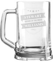 "Father of the Bride Personalised 1pt Plain Glass Tankard Shield Design 15cm (6"")"