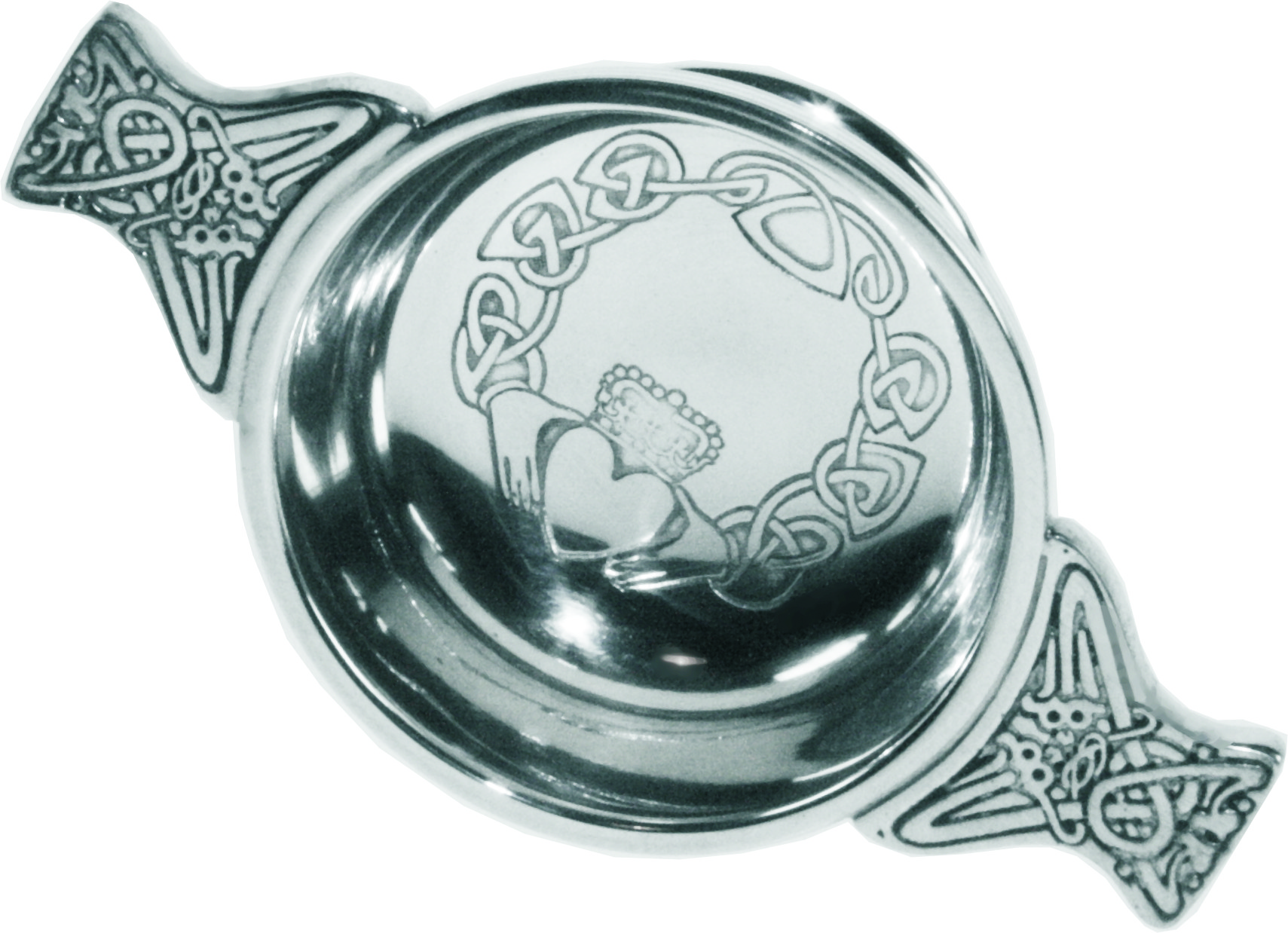 """Pewter Quaich Bowl with Claddagh Design and Celtic Handle 7cm (2.75"""")"""