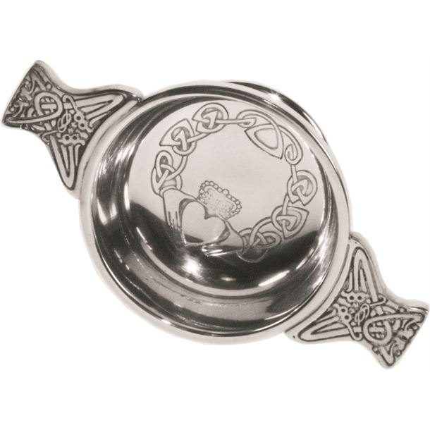 "Pewter Quaich Bowl with Claddagh Design and Celtic Handle 7cm (2.75"")"