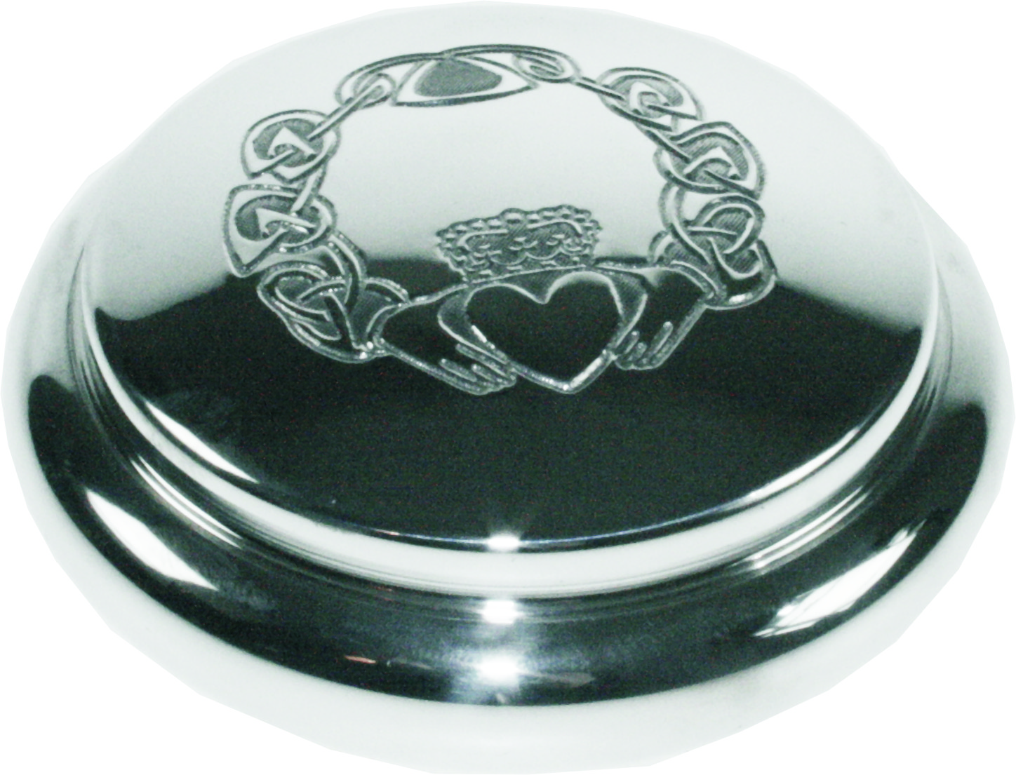 "Pewter Georgian Trinket box with Claddagh Design 8.5cm (3.25"")"