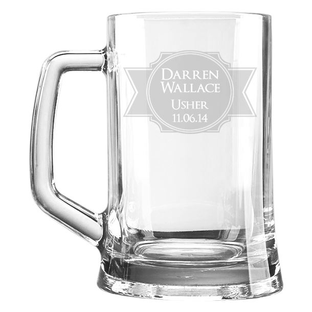 "Wedding Usher Personalised 1pt Plain Glass Tankard Stamp Design 15cm (6"")"
