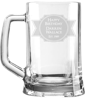 "Happy Birthday Personalised 1pt Plain Glass Tankard Stamp Design 15cm (6"")"