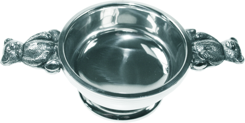 "Pewter Quaich Bowl with 3D Teddy Bear Handles 7cm (2.75"")"