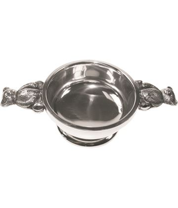 "Pewter Quaich Bowl with 3D Teddy Bear Handles 7cm (2.75"")"