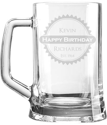 "Happy Birthday Personalised 1pt Plain Glass Tankard Rosette Design 15cm (6"")"