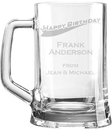 "Happy Birthday Personalised 1pt Plain Glass Tankard Stripe Design 15cm (6"")"