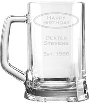 "Happy Birthday Personalised 1pt Plain Glass Tankard Oval Design 15cm (6"")"