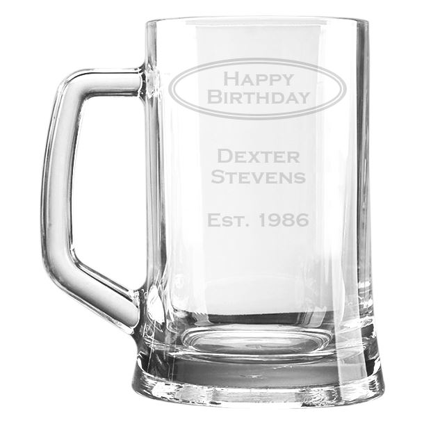 "Happy Birthday Personalised 1pt Plain Glass Tankard Oval Design 15cm (6"")"
