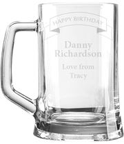 "Happy Birthday Personalised 1pt Plain Glass Tankard Ribbon Design 15cm (6"")"