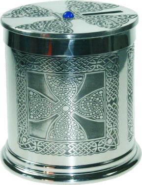 """Pewter Celtic Cross Money Box 10cm (4"""")"""
