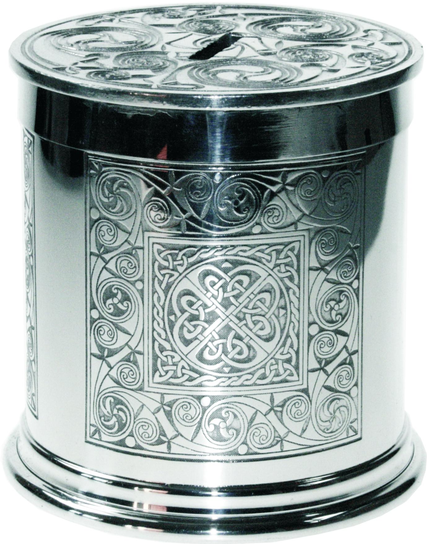 "Pewter Celtic Spiral Money Box 10cm (4"")"