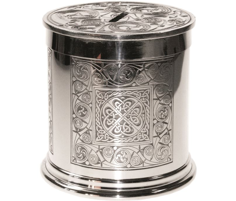 "Pewter Celtic Spiral Money Box 10cm (4"")"