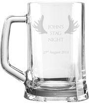 "Stag Night Personalised 1pt Plain Glass Tankard Antler Design 15cm (6"")"