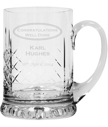 "Congratulations Personalised Cut Crystal 1pt Tankard 14cm (5.5"")"