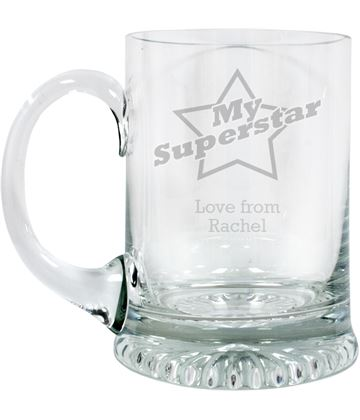 "Superstar Personalised 3/4pt Lead Crystal Star Base Tankard 13cm (5.25"")"
