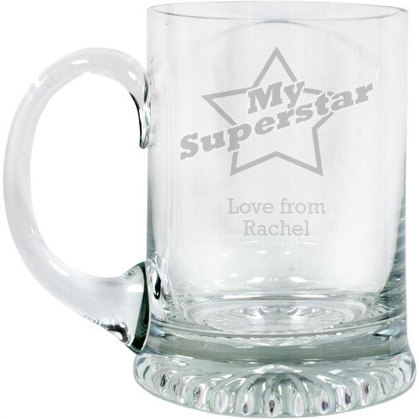 "Superstar Personalised 3/4pt Lead Crystal Star Base Tankard 13cm (5.25"")"