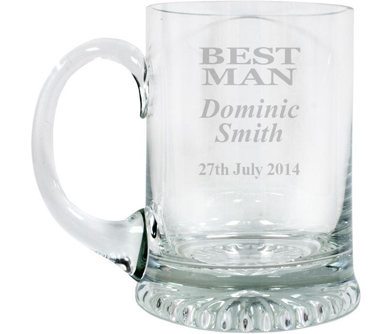 "Best Man Personalised 3/4pt Lead Crystal Star Base Tankard 13cm (5.25"")"