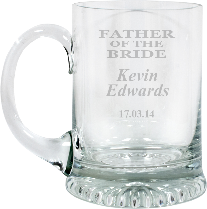 "Father of the Bride Personalised 3/4pt Lead Crystal Star Base Tankard 13cm (5.25"")"