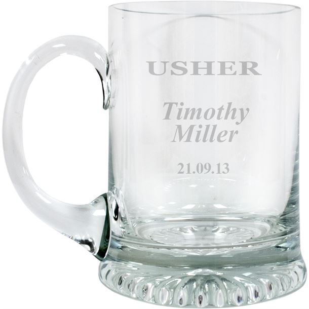 "Usher Personalised 3/4pt Lead Crystal Star Base Tankard 13cm (5.25"")"