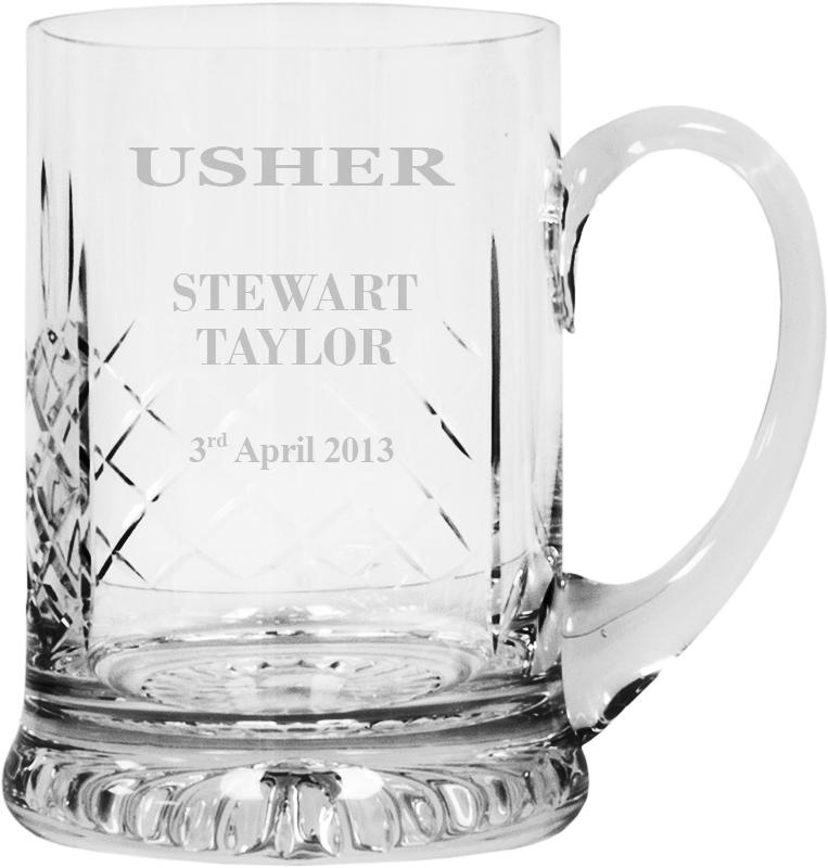 "Wedding Usher Personalised Cut Crystal 1pt Tankard 14cm (5.5"")"